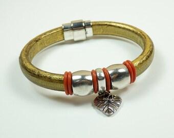 Metallic Gold Licorice Leather Bracelet with Ginko Leaf Charm