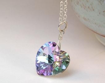Lavender Heart Necklace, Purple Pendant, Violet Swarovski Crystal, Sterling Silver, Wedding Handmade Jewelry, Valentines Day Gift