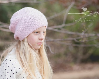 Pink Slouchy Hat, Kids Hat, Girls Slouchy Hat, Ski Hat, Knit Hat, Teen Slouchy Hat, Womens Beanie, Slouchy Knit Hat, Knit Winter Hat,