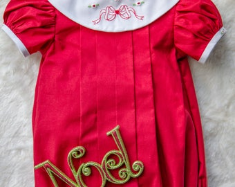 Pleated Red Bubble with Shadow Bow Embroidery and Bullion Roses Details on Collar and Arms- 6 months
