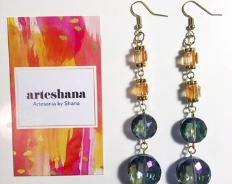 Amber and Smokey Blue drop earrings