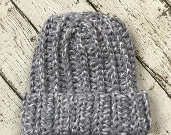 Chunky fold up brim hat in Gray/White (READY TO SHIP)