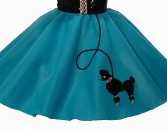 Teal 50's POODLE SKIRT for CHILD 4  5 6 7 8