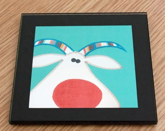 Coaster - Goatee - Glass coaster - Goat illustration - Cute animal illustration - Quirky Gift - Nosey Parker Designs