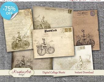 75% OFF SALE Digital Tags Vintage Bicycle - Digital collage C003, Printable Download, Digital Vintage, Digital Image, ATC Card, Vintage