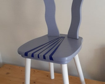 Hand Painted Chair in grey, blue and cream in unique stripe design