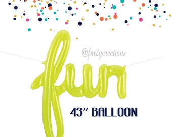 "FUN Script Balloon | One is Fun | Foil Green Fun Balloon - 43"" | FUN Banner Balloons | Birthday Party Balloon | Lime Green Party Balloons"