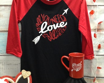 Valentine's Day Glitter Baseball Style Tshirt - Love is All You Need
