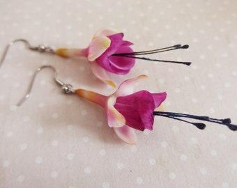 Stainless steel Fuchsia Flower Earrings / Fuchsia flowers / Blossoms / cold porcelain / spring / spring / flower jewelry