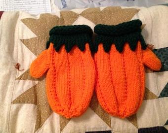 Child's Pumpkin Knitted Mittens