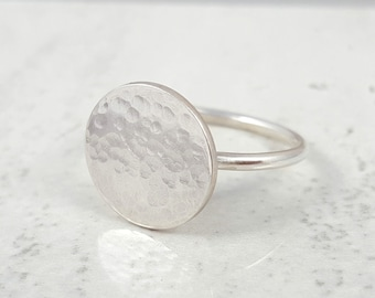Sterling Silver 'Halo' Ring | Geometric Ring | Hammered Disc Ring | Textured Ring | Statement Ring | Contemporary | Gift for Sisters