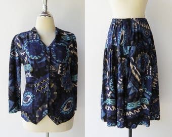 Vintage 1980s Top and Skirt Set / Novelty Print Set / Size S M