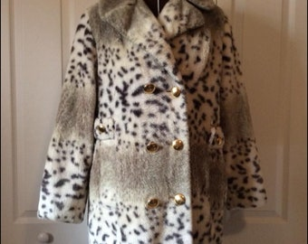 Vintage 1960's Faux Fur Snow Leopard Double Breasted Pea Coat Jacket