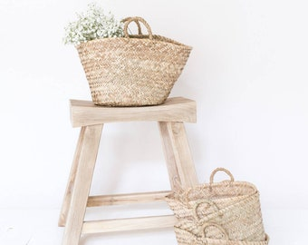 """French Market Basket, """"The Mae,"""" Woven Bag, Straw Bag, Laundry Basket, Straw Bag, Farmers Market Bag, Storage, Beach Bag, Carryall"""