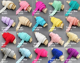 5 Yards 5/8 Fold Over Elastic Shinny Foldover Elastic Cord Elastic Headband Elastic Lace FOE Hair Bow Tie DIY Wholesale EL999