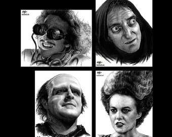 "Prints 8x10"" - The Young Frankenstein Series - Gene Wilder Marty Feldman Monster Bride Igor Dark Art Comedy Pop Horror Gothic Vintage"