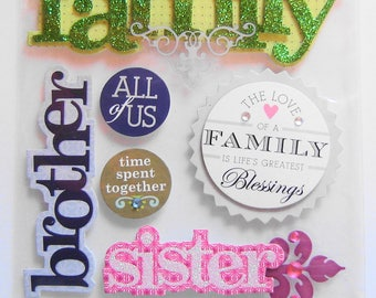 FAMILY, BLESSINGS, RELATIVES, Soft Spoken, Dimensional Stickers, Scrapbooking, Cards,Crafts, Collage, Stationary, Arts and Crafts (SP8)