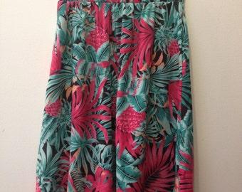 90's Hawaiian Print High-Waisted Skirt