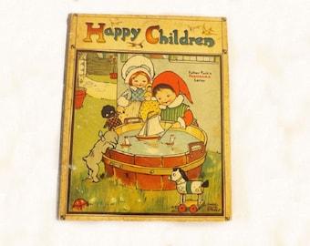 1900 Happy Children, Antique Childrens Book, Father Tucks Panorama Series 8096, Rare Book, Accordion Panorama Book, Mabel Attwell, Rare Book