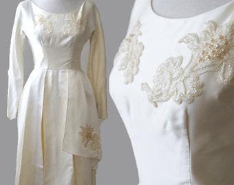 vtg 50s wedding dress Floral pearl beaded Satin cream WEDDING pleated midi mini party Dress S M