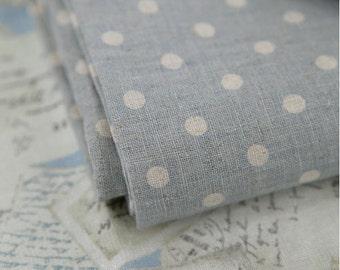 Cotton Linen From Paris Matching Blue Polkadot per Yard 27923