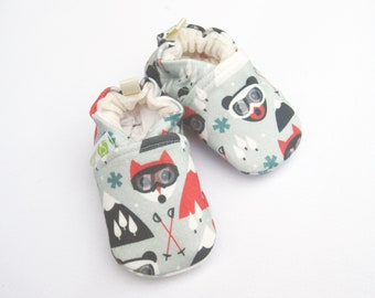 Organic Knits Vegan Ski Fox / All Fabric Soft Sole Baby Shoes / Made to Order / Babies