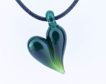 Valentine's Day Gift for wife, Green Glass Heart Necklace Pendant, Boro, Lampwork, Love, Hand Blown Glass, Heady Glass, Heart Jewelry Charm