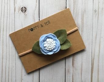 Periwinkle Blue Felt Flower // Headband or Clip
