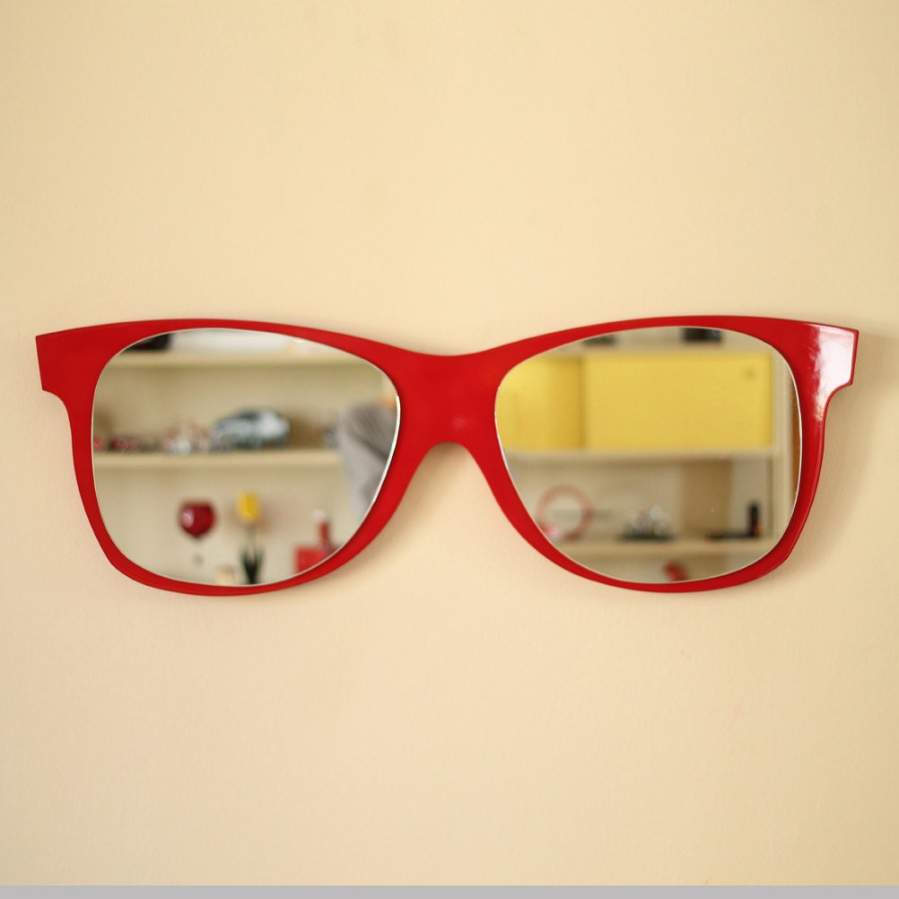Raymond Sunglasses Shaped Mirror, Funky design, wall decoration, shiny, red, black, yellow, green, blue, Summer feeling to your decoration