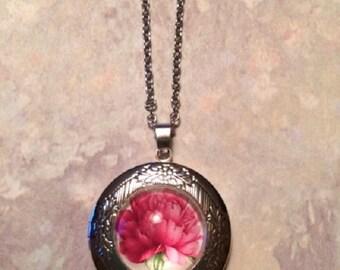Peony Necklace - Peony Jewelry - Pink Peony - Flower Locket - Flower Locket Necklace - Flower Jewelry - Flower Necklace - Pink Locket - Gift