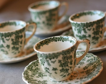 Crown Ducal Green English Ivy Demitasse cup and saucer set
