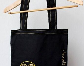 Hand painted Bag-black shopper-black cotton bag-daytime owl design-hand-painted shooper-black bag-Civettadiurna bag