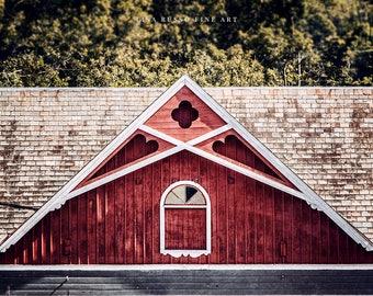 Red Barn Canvas or Print, Red Barn Art, Farmhouse Wall Decor, Rustic Home Decor, Primitive Hearts, Dutch Barn Picture, New York State Art.