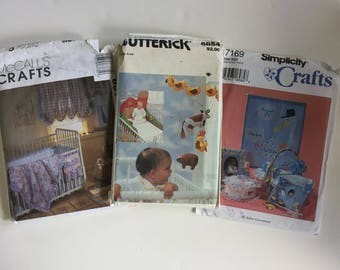 Baby Decor Bundle 3 sewing patterns Simplicity 7169, Butterick 6854, McCalls 8373 crib bedding, mobiles, announcements