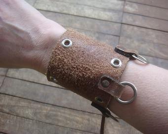 Leather Cuff - Distressed Leather Cuff - Brown Leather Bracelet - Leather Cuff Bracelet - Leather Jewelry - Boho Cuff - Post Apocalypse
