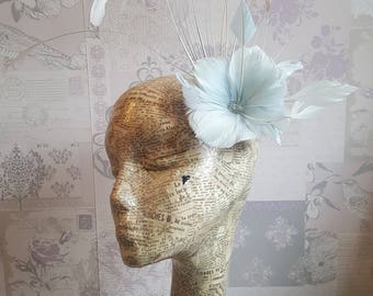Lucy - Light Blue/Mint & Grey Feather Fascinator Hair Clip.  Perfect for Weddings, Race Days.