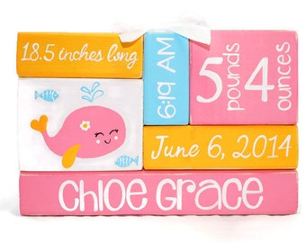 Pink Whale Under The Sea Baby Birth Stat Nursery WoodenBlock Shelf Sitter Stack