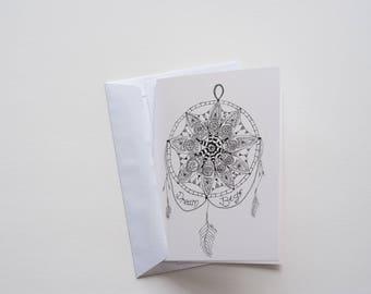 Dream Big Meditation Mandala Greeting Card black and white