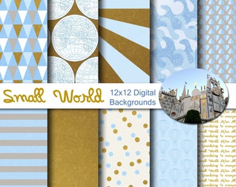 Disney Small World Inspired 12x12 Digital Paper Pack for Digital Scrapbooking, Party Supplies, etc -INSTANT DOWNLOAD