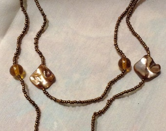 Art Deco Brown Keshi Pearls Beaded Long Necklace, Modern, Gatsby, Flapper Necklace  9950-138