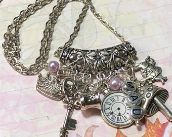 Alice in Wonderland  Mad Tea Party,  altered art Necklace, handmade, OOAK,  book lovers necklace