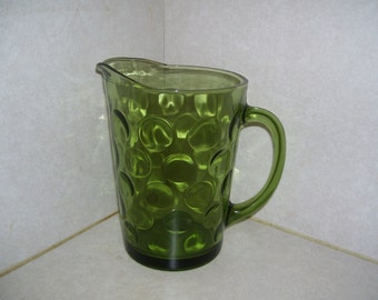 Glass Pitcher Bubble Glass Pitcher Green 70s Vintage