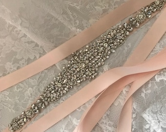 Bridal belt  E803 with rhinestones on color double sided ribbon