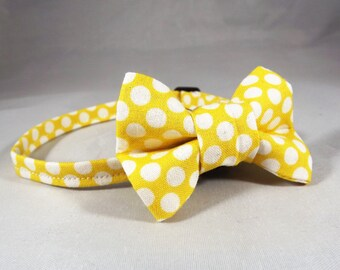 Yellow Cat Collar, Breakaway Cat Collar, Kitten Collar, Yellow Polka Dot cat Collar, collar flower or Bow tie optional, Spring Cat Collar