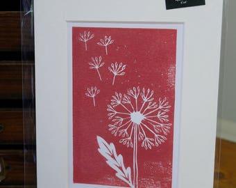 Dandelion mounted lino print