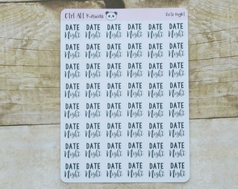 Black and White Planner Stickers: Date Night