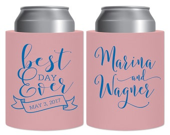 PVC Foam Customized Can Coolers Indestructible Beverage Insulator Personalized Wedding Favors | Best Day Ever (2A) Banner | READ DESCRIPTION