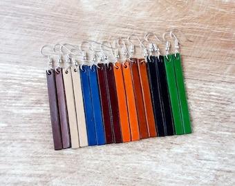 Leather bar stud earrings, Bar stud earrings, Leather earrings bars, Bar earrings,  Long earrings, Leather earrings, Joanna earrings