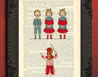 Childrens choir dictionary page, singing kids upcycled book, church choir wall art dictionary print
