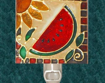 Watermelon Decor Night Light Plug In, Red Kitchen Decor, Decoration Art, Summer Stained Glass Watermelon Kitchen Decor Art Artwork Theme